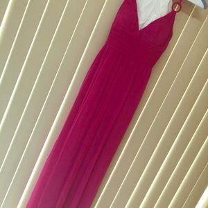 Pink chiffon floor length Cache' evening dress
